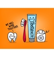 Teeth cartoons orange vector image vector image