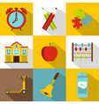 back to school icon set flat style vector image
