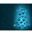 Christmas tree with blue christmas balls vector image