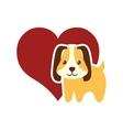 dog animal pet ear long red heart vector image