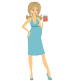 Elegant pregnant woman with gift vector image