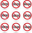 No drugs smoking and alcohol sign vector image