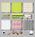 set of colorful chevron background square cards vector image
