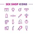 sex shop icons set Trendy two color line vector image