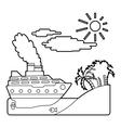 Ship in sea near island concept outline style vector image