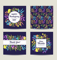 set of four herbal card template for thanksgiving vector image vector image