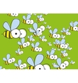 Green Background With Bees vector image