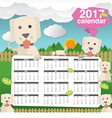 2017 Calendar Starts Sunday Cute Dogs In Backyard vector image