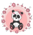 Panda with flowers vector image