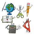 Cartoon school supplies and stationery characters vector image