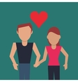 couple holding hands with cartoon heart image vector image
