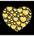 golden hearts on black vector image