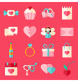 Valentine day flat style icon set over pink vector image
