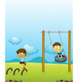 Kids playing swing vector image vector image