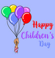 colorful balloon style children day collection vector image