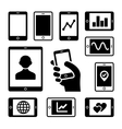 Mobile gadgets with business diagrams icons set vector image