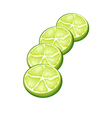 Fresh Limes and Half on White Background vector image