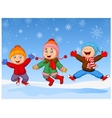Group of children jumping together in wintertime vector image vector image