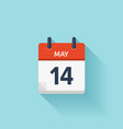 May 14 flat daily calendar icon Date and vector image