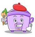 artist rice cooker character cartoon vector image