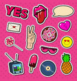 fashion stickers and badges with lips hands vector image