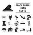 japan set icons in black style big collection of vector image