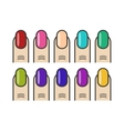 Manicure fingers and colorful nails icons vector image