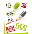 Yes and no written on paper vector image
