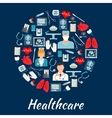 Healthcare and surgery icons in a circle shape vector image