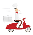 Funny italian chef delivering pizza vector image vector image