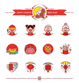 Happy Chinese New Year Icons Set vector image