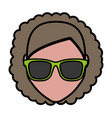 woman with sunglasses icon vector image