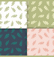 set of four seamless pattern with leaf abstract vector image