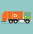 orange garbage truck transportation flat vector image
