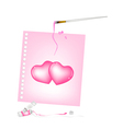 Artist Brush with Paint Tubes Drawing Two Heart vector image vector image