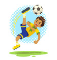 Soccer Boy Hit The Ball Use Bicycle Kick Technique vector image vector image