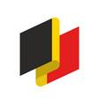 belgium flag ribbon isolated belg tape banner vector image