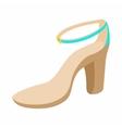 Biege high heel shoe icon cartoon style vector image