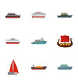 boat icons set flat style vector image