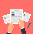 Concept of Job Interview with Business CV Resume vector image
