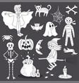 cute doodle halloween ghost line art vector image