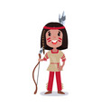 little boy wearing native american indian vector image