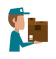 mailman with package icon image vector image