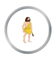 Primitive man with truncheon icon in cartoon style vector image