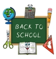 Blackboard with funny school supplies vector image