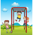 Kids playing monkeybar vector image vector image
