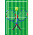 tennis court rackets and ball vector image vector image