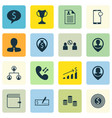 set of 16 management icons includes wallet vector image