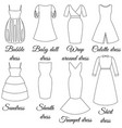 Styles of dresses oulines vector image