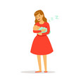 beautiful young mother in red dress rocking her vector image